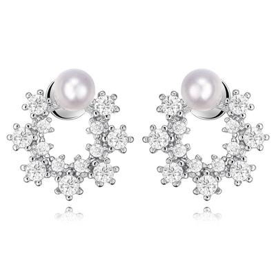 優雅珍珠花環鑲鑽 無耳洞黏貼式耳環