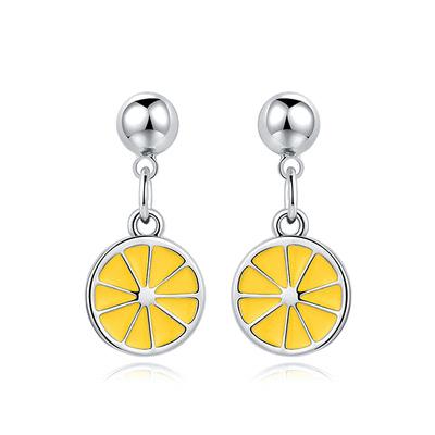甜美小清新黃色檸檬 黏式耳環