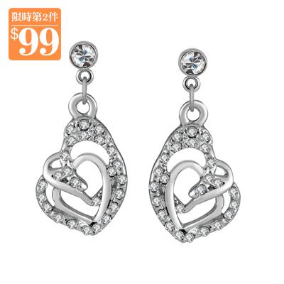 【第2件99元】時尚個性造型愛心鑲鑽 無耳洞黏貼式耳環