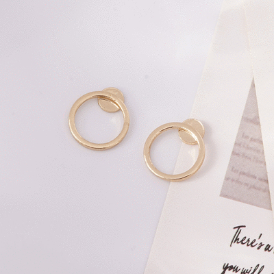 簡約小巧經典圓環 無耳洞黏貼式耳環