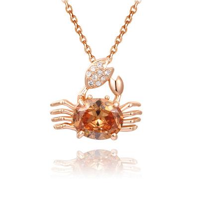 盛夏時光個性螃蟹微鑲鑽合金項鍊