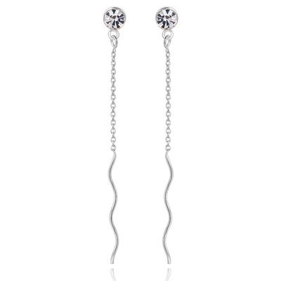 極簡螺旋線狀鑲鑽 無耳洞黏貼式耳環