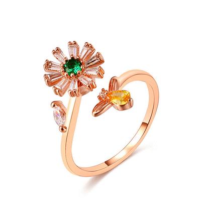 旋轉花朵蜜蜂鑲鑽指環