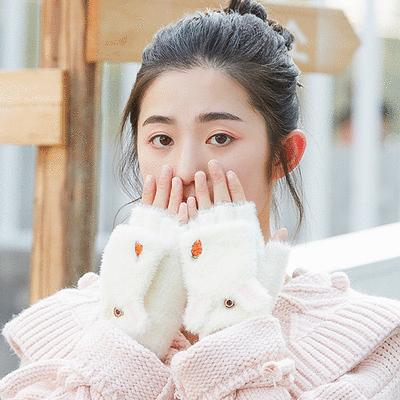 兔耳胡蘿蔔刺繡半指手套