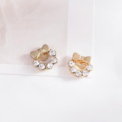 閃閃水鑽蝴蝶結小花環 耳針/無耳洞黏貼式耳環