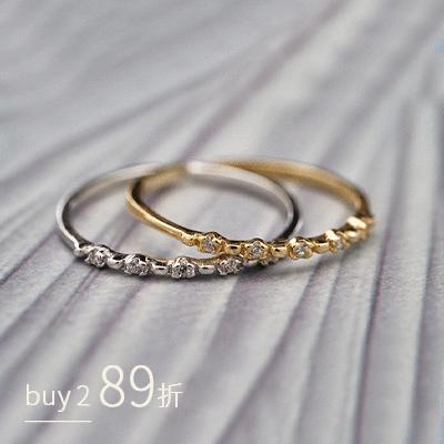 清新浪漫鑲鑽開口戒指[純銀]
