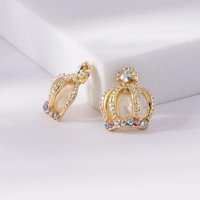 耀眼彩色鑲鑽皇冠 無耳洞黏貼式耳環