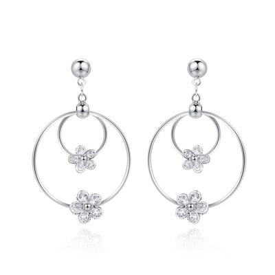 經典時尚圓環花朵鑲鑽 耳針/黏式耳環