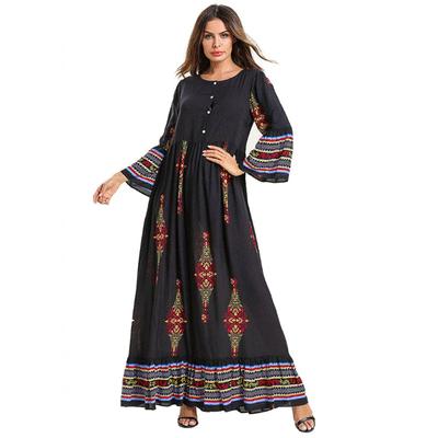 穆斯林民族風開襟喇叭袖連身裙