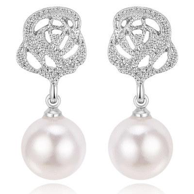 銀光淡雅玫瑰珍珠 無耳洞黏貼式耳環