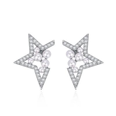 個性幾何簍空珍珠 耳針/黏式耳環