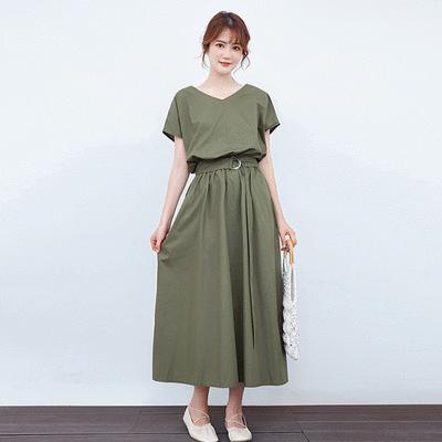 日系簡約收腰顯瘦連衣裙