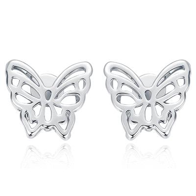 【專區3件85折】雙層立體簍空蝴蝶 無耳洞黏貼式耳環