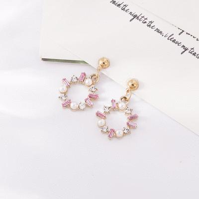 清透結晶珍珠花環 耳環/無耳洞黏貼式耳環