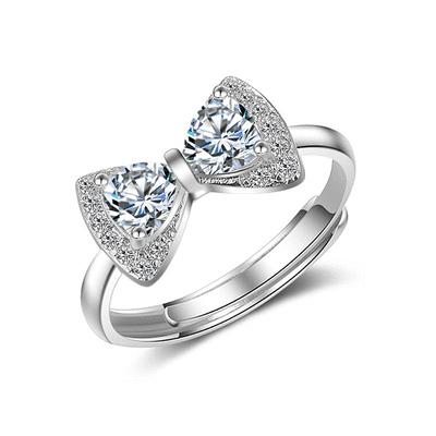 奢華鑲鑽蝴蝶結指環
