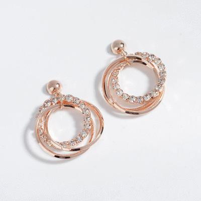 時尚優雅三環鑲鑽 無耳洞黏貼式耳環