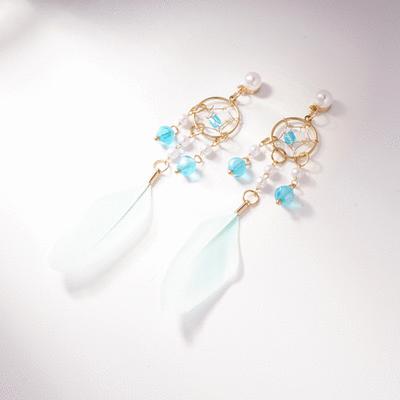 珍珠風鈴羽毛流蘇 耳針/無耳洞黏貼式耳環