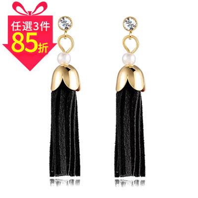 【專區3件★85折】時尚氣質珍珠流蘇黏式耳環