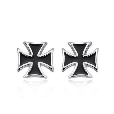 個性時尚黑十字黏式耳環