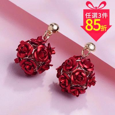 【專區3件★85折】優雅玫瑰花朵 耳針/黏式耳環