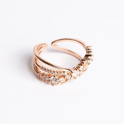韓版氣質交叉鑲鑽開口戒指
