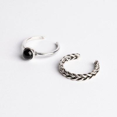 潮流個性麻花兩件組開口戒指