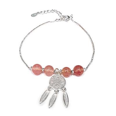 森系天然草莓粉晶補夢網手鍊