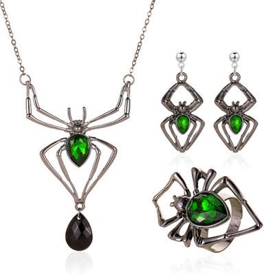 【3款】萬聖節限定-哥德風綠寶石蜘蛛飾品三件組