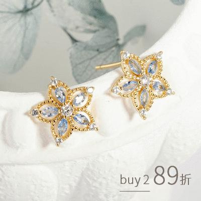 復古藍鑽簍空花朵 耳針耳環[純銀]