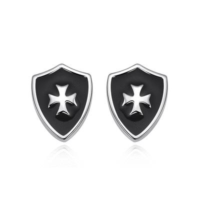 精巧時尚盾牌黏式耳環