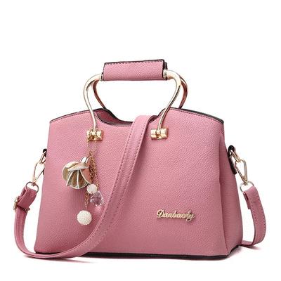 歐美簡約純色金屬柄手提包