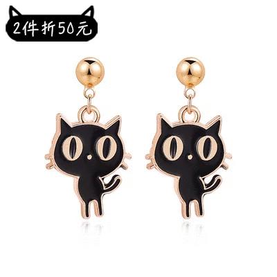 【2件折50元】呆萌卡通大眼貓 黏式耳環
