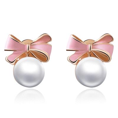 甜美可愛蝴蝶結珍珠 耳針/無耳洞黏貼式耳環