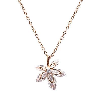 典雅浪漫楓葉亮鑽項鍊