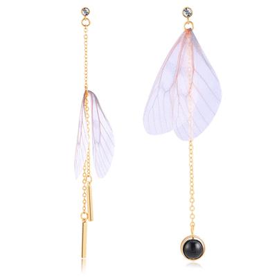 清新仿真蝴蝶翅膀不對稱 耳針/無耳洞黏貼式耳環