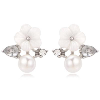 清新淡雅花朵珍珠無耳洞黏貼式耳環