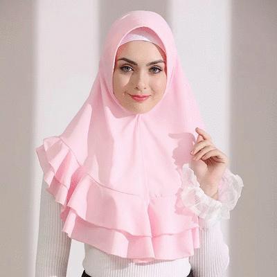 穆斯林純色泡泡雪紡方便套頭頭巾