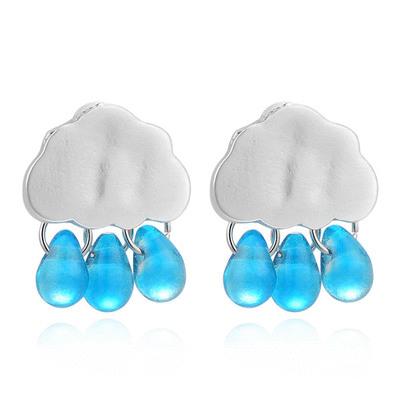 可愛清新雲朵雨滴 無耳洞黏貼式耳環