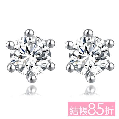 【結帳85折】時尚簡約六爪鋯鑽 無耳洞黏貼式耳環 (7mm)