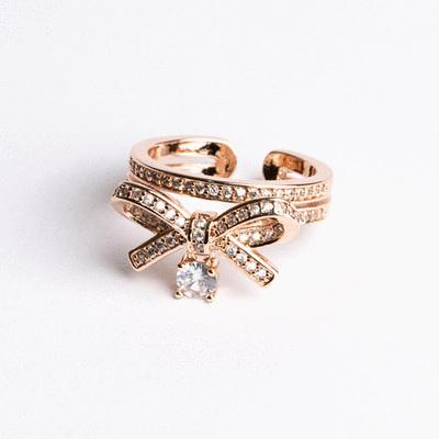 清新甜美蝴蝶結鑲鑽開口戒指