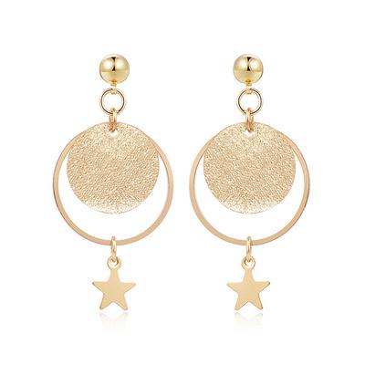 時尚磨砂星星 耳針/黏式耳環