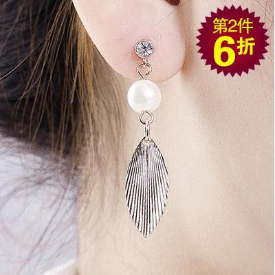 【第2件6折】森林系氣質珍珠樹葉 耳針/無耳洞黏貼式耳環