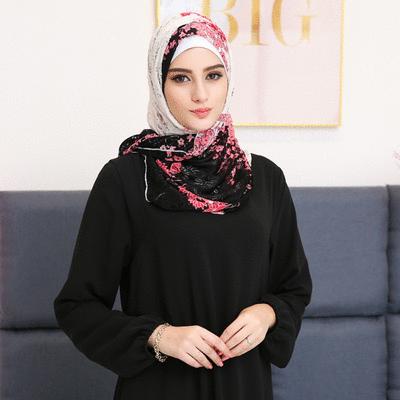 穆斯林復古民族花卉蕾絲款長頭巾