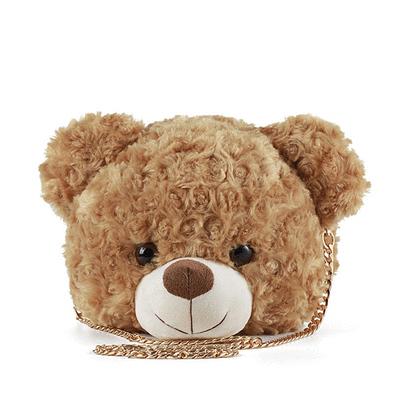 玫瑰紋捲毛小熊迷你鏈條側背包