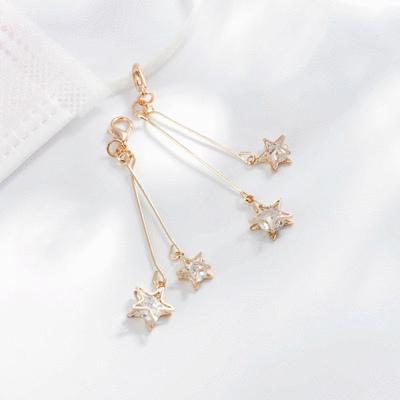 復古浪漫雙星亮鑽口罩吊飾
