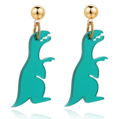 搞怪壓克力恐龍 無耳洞黏貼式耳環