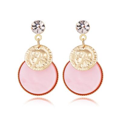 復古粉色貝殼人像 耳針/黏式耳環