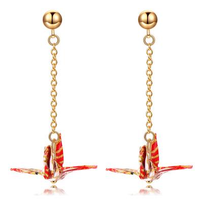 【純手工製作】日系和風千紙鶴 無耳洞黏貼式耳環