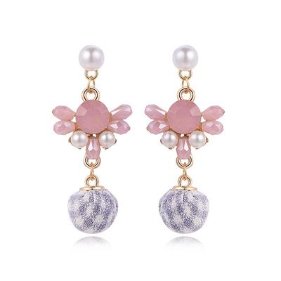 日系珍珠粉鑽格子球黏式耳環