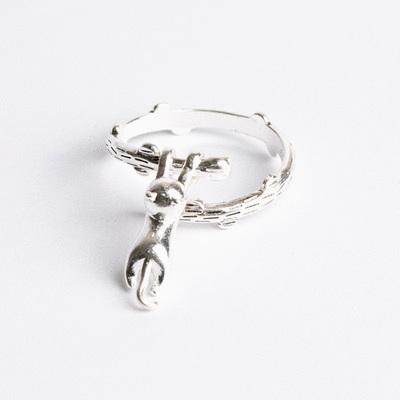 可愛小貓爬樹支開口戒指